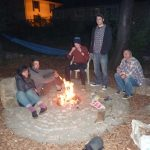 firepit inauguration with Kyra, Adam, Charlie, Will, and Martin, with flash
